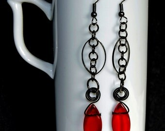 blood red daggers,  long earrings, black and red, edgy earrings,gifts under 20