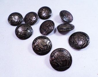 Set of 10 Replica Buffalo Nickel Buttons Bronze Vintage 80s