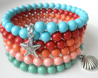 Swarovski Pearl Memory Wire Bracelet in Gemstone Colors - Shades of Coral Turquoise and Jade - Beach Bracelet - Wrap Around Cuff for Summer