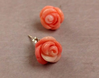 Sterling Silver Post Earrings With Carved Salmon Colored Coral Roses