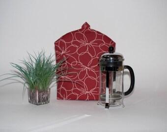 "French Press Coffee Cozy- ""Daily Zen"" Black or Claret Red, Dome Coffee Press Cozy, Bodum Cozy, Cafetiere Cozy, Coffee Pot Cozy"