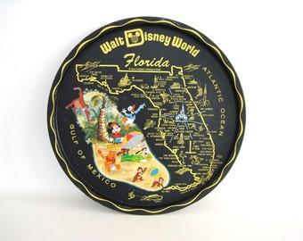 Vintage Round Metal Tray Disney Florida Souvenir Black Colorful Serving Barware Mid Century 1960s