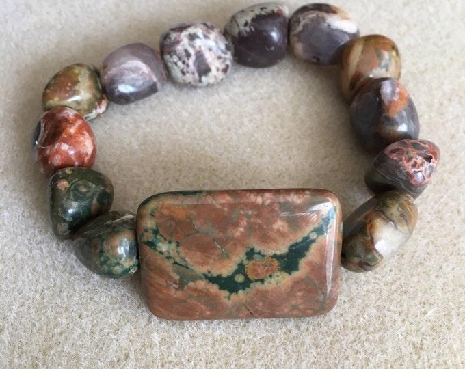 Full Moon Cloudy Night Rhyolite Rainforest Jasper Statement Stretch Bead Bracelet