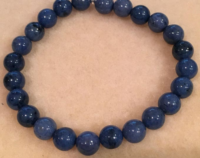 Dumortierite 8mm Round Stretch Bead Bracelet with Sterling Silver Accent