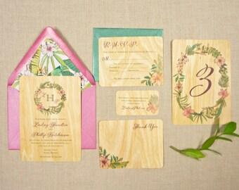 Real Wood Wedding Invitations   Lush Tropic