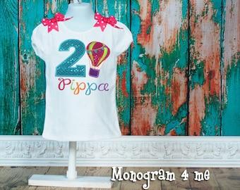 Hot Air Balloon birthday shirt - Hot Airballoon - Colorful birthday - First Birthday shirt