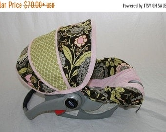 ON SALE Baby Girl Infant car seat cover-dark brown background with Lacework print and pink minky -  Always comes with FREE strap Covers