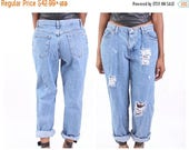 10% Off EASTER SALE All SIZES High Waist Destroyed Boyfriend Jeans Plus Sizes