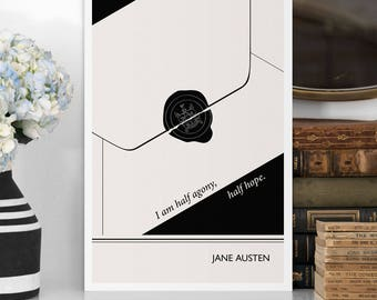 "Literary Art Print, ""Jane Austen"" Large Wall Art Posters, Literary Quote Poster, Illustration, Minimalist Prints, Bookish Gift for Writer"