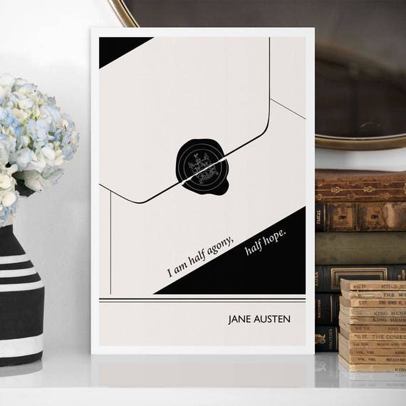 """Literary Art Print, """"Jane Austen"""" Large Wall Art Posters, Literary Quote Poster, Illustration, Minimalist Prints, Bookish Gift for Writer"""