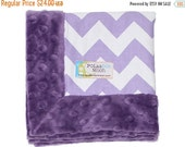 Sale Baby Girl luxe Lovey Blanket - Purple & White Chevron on Purple Minky-Unique BABY SHOWER Gift
