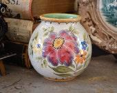 Vintage Gouda Pottery Vase Bertino Margriet Floral 1940s