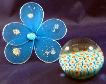 Vintage Millefiori Art Glass Floral Paperweight, 1970s