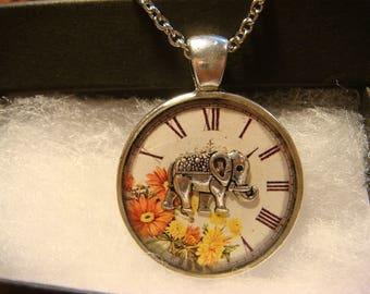Elephant over Floral Clock Pendant Necklace (2394)