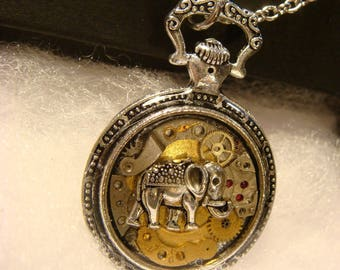 Clockwork Elephant Steampunk Pocket Watch Pendant Necklace -Made with Real Watch Parts (2400)