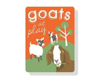 "Goats at Play Outdoor Sign (9"" x 12"")"