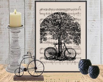 Bicycle wall art print on dictionary or music page COUPON Dictionary art print wall decor Music page Digital art print Tree print  No. 212