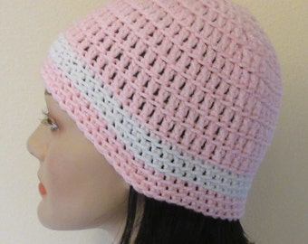 Pink and White Beanie, Crocheted Hat, Cold Weather Accessory, Hockey Mom, Snow Playing, Ice Skating,  Pink Snow Hat