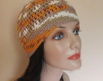 Taupe Orange White Cotton Beanie, Summer Hat, Warm Weather Accessory, Women's Cotton Hat