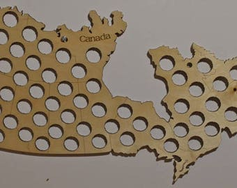 Beer Cap Map of Canada 54 Beer Cap Holes, Laser Cut, Baltic Birch, Paul Szewc, Masterpiece