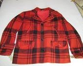 Vintage Red Black Plaid Wool Hunting Coat Men's Jacket from Darlas Closet
