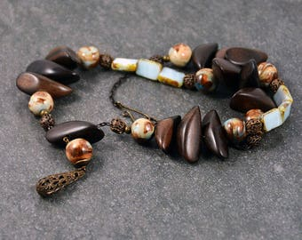 Rustic Wooden Necklace Blue Brown Wood Glass  Ceramic Beads Vintaj Brass Necklace