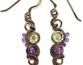 Custom Steampunk Bronze & Amethyst Earrings