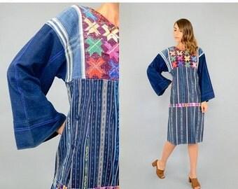 ANNIVERSARY SALE 70's Guatemalan DENIM Dress