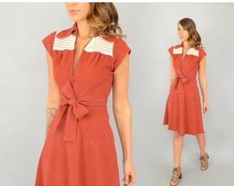 ANNIVERSARY SALE 70's Chevron ZIP-Front Dress