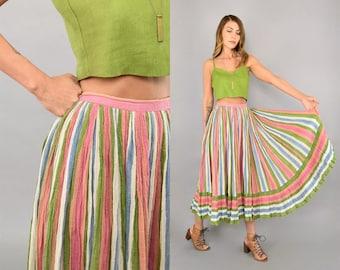 Cotton Gauze Striped Skirt