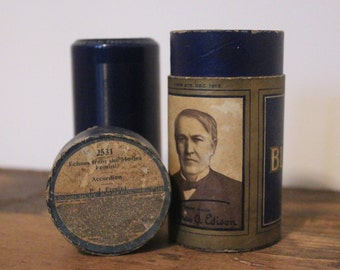 antique Edison Blue Amberol Record - 2531, Echoes From the Movies, PJ Frosini - recording cylinder + canister, 1912-1929