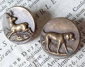 2 Beautiful antique French livery hunting buttons PARIS maker c1880 BELLE BROCANTE