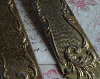 Superb pair antique French timeworn door finger plates c1900 ACANTHUS SCROLLS