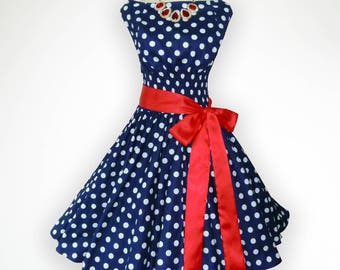 Winsome Blue and White Polka Dot 50s Pin up Rockabilly Swing Dress Full Swing Skirt