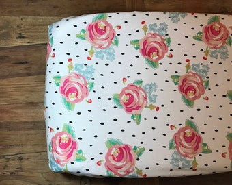 Watercolor Floral Rose Baby Girl Changing Pad Cover l Fitted Crib Sheet l Nursery Crib Bedding l Nursery Decor l Rose Flower l
