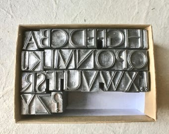 Vintage Striated Letterpress Alphabet for Printing Stamping and Clay Stamping