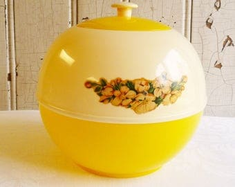 Vintage Round Cookie Jar - Yellow and White Plastic = Burroughs Burrite  - Mid-Century 1950s - Floral Decal - Retro Kitchen Decor