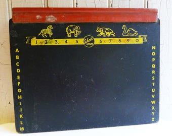 Vintage Child's Chalkboard - School Chum Chalk Board - Alphabet, Numbers and Animals Border - Elephant, Zebra, Swan - Mid-Century 1950s