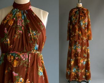 Vintage 1970's Brown Floral Sheer Maxi Dress with Matching Jacket / Retro Boho Hippie Women's Medium