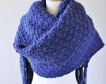 Royal Blue Oversized Alpaca Knit Scarf