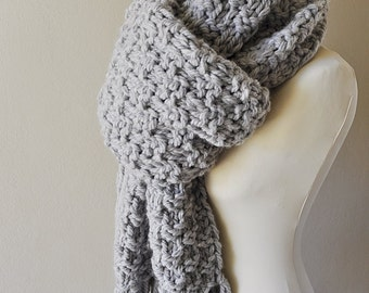 On Sale Unisex Oversized Super Chunky Grey Knit Scarf With Tassels, Gift For Him or Her