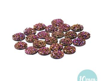 10mm Metallic Magenta Faux Druzy Crystal Clusters Cabochons sfc0105