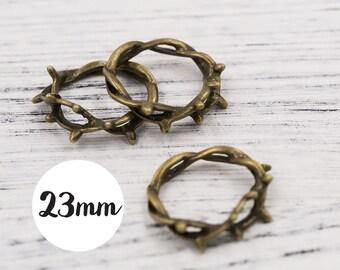 10 pcs of Antiqued Bronze 3D Crown of Thorns Jesus Crucifixion Christian Charm Pendants Drops 23mm U002