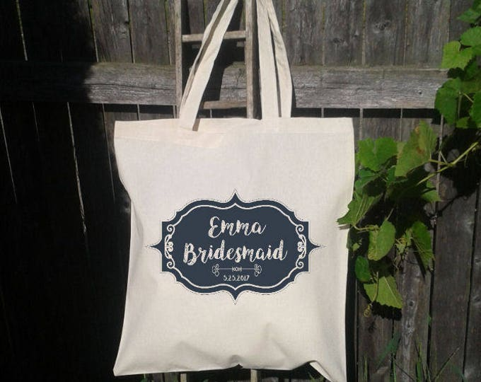 Bridesmaid Tote Bag, Chalkboard Bridesmaid Tote Bag, Wedding Welcome Bag, Wedding Tote Bag