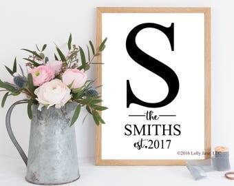 family name sign monogram established art print wedding anniversary housewarming gift