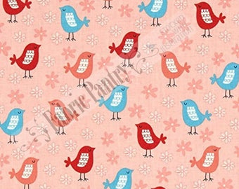 ACORN FOREST Quilt Fabric - Bird Birdies ~ AWY-15627-269 Park - by Wendy Kendall - R Kaufman ~ Pink Sorbet Aqua Red ~ Sold by the 1/2 Yard