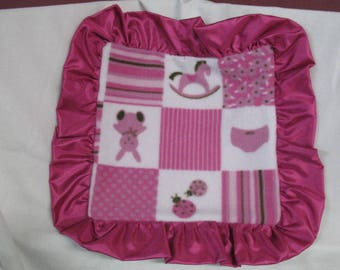 Rocking Horse / Bunny  Fleece Lovey /  Baby Lovie / Sensory / Hot Pink Minky Dot  Blanket