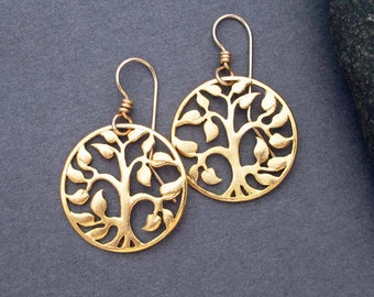 Gold Tree of Life Earrings Gold Dangle Earrings Filigree Modern Jewelry