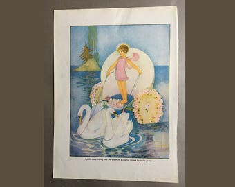 Apollo came riding over the water in a chariot drawn by white swans - original vintage book illustration by Margaret Evans Price