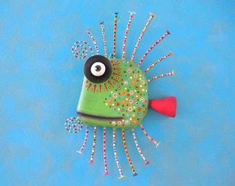 Green Guppy, MADE to ORDER, Original Found Object Wall Sculpture, Wood Carving, Fish Sculpture, Wall Decor, by Fig Jam Studio